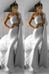 une pièce robe de soirée Promotion Nouvelle arrivée deux pièces robes de bal 2018 une épaule à manches longues trompette sirène de bal robe de soirée robes