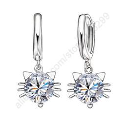 Wholesale Sterling Silver Huggie - whole salePATICO Crystal Cubic Zircon Jewellery Earrings 925 Sterling Silver CZ Pendant Cute Cat Hoop Earrings For Beauty Accesssoriess