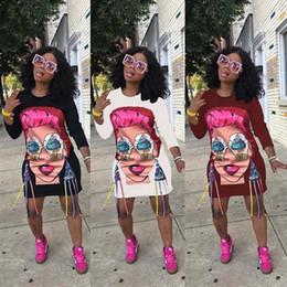 2019 modelos de vestidos de desenhos animados Outono das mulheres dos desenhos animados do vintage vestidos de fita solto cor avatar largura de banda solto vestido de três cores modelos de saia passo africano clothing sexy modelos de vestidos de desenhos animados barato