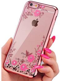 Luxe Bling Diamond Electroplate Soft TPU Effacer Case Pour iPhone X 8 7 6 6S Plus Samsung S8 S9 Plus Note 8 Secret Jardin Fleur Couverture ? partir de fabricateur
