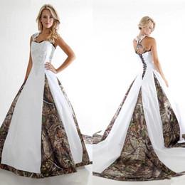 Wholesale Lace Cross Back Wedding Dress - 2018 Vintage Sweetheart Ball Gown Camo Wedding Dresses Lace Appliques Sleeveless Criss Cross Back Arabic Chapel Train Plus Size Bridal Gowns