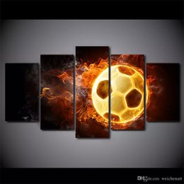 modern sports oil paintings UK - 5 panel sports burning hot Football Prints on Canvas Walls oil Paintings Modern HD Wall Artwork for Bedroom Home Decor Decorations