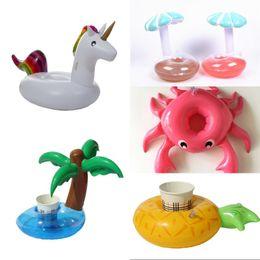 Juguetes de champiñones online-Diseño inflable Cup Holder Unicornio piña Seta Coconut Tree Drink Coaster Summer Party Proveedor Piscina Juguete 2 7cs WW