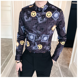 Wholesale mens club clothes - 2018 Summer Men Floral Shirt Fashion Long Sleeve Slim Fit Dress Mens Shirts Turn Down Night Club Printing Male Clothes
