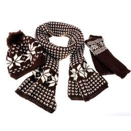 черный вязаный шарф Скидка 3шт зима теплая женская вязание шерстяной комплект шапка шапка + шарф + перчатки обертывания желтый / красный / кофе / бежевый / черный