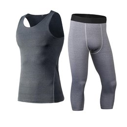 Wholesale Custom Leggings - YD 2017 Logo Custom Compression Fitness Tight Running Set Training Shirt 3 4 Leggings O-Neck Gym Tracksuit Men Top Sport Suit