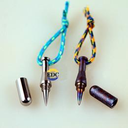 Wholesale Mini Pen Keys - Outdoor Pure Titanium EDC Ti Burn blue MINI Baseball bat defensive Tactical pen Key Pendant combination Multi Tools