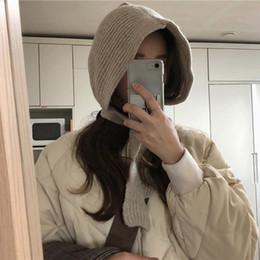 2019 menina beanie rendas Meninas Retro Lace-up Proteger Orelhas Gorros De Malha Cap Inverno Quente Earmuffs Chapéus Novo menina beanie rendas barato