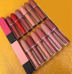 Labios labiales online-Maquillaje 12 colores Mate Brillo de labios Labios Lustre Lápiz labial Lápiz labial natural de larga duración a prueba de agua Cosméticos