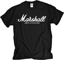 Drum para la venta online-Marshall Amp banda de rock guitarra tambor metal camiseta negra verano Venta caliente Nueva camiseta Hombres camiseta Top