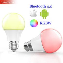 lâmpada led b22 base Desconto Smart Bluetooth 4.0 levou lâmpada multi cor E27 ou B22 base 4.5 W RGBW Dimmable lâmpada de iluminação inteligente para ISO Android VR