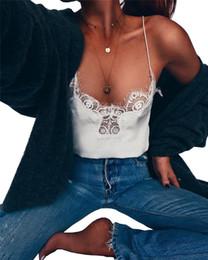 Wholesale lace spaghetti strap tank - Women Lace Camisoles Summer White Black Spaghetti Strap Tanks Tops Sleeveless Bottoming Tees Underwear