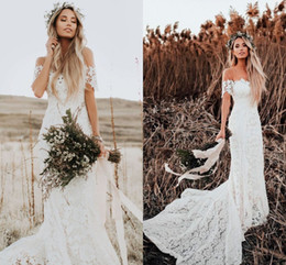 vintage fishtail wedding dresses Promo Codes - 2018 Lover Society Mermaid Wedding Dresses Modest Civil Vintage Crochet Lace Off Shoulder Country Farm Garden Boho Fishtail Bridal Dress