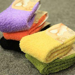 Wholesale winter sleeping socks - Fuzzy Socks for Women Winter Fluffy Doudou Material Thick Warm Fleece Sleep Socks