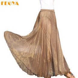 7fc6f72d58 2019 falda plisada de color beige beige Feoya 2018 faldas femeninas falda  larga de gasa de