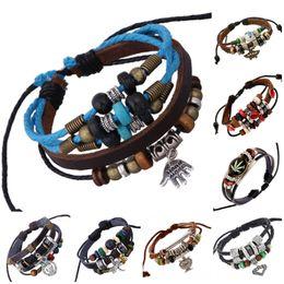Bracciali in pelle bracciali in pelle fatta a mano online-2018 Mens bracciale avvolgente in pelle gioielli fatti a mano genuino lega bracciali bracciali braccialetti mix 8 disegni gioielli per le donne D836LR