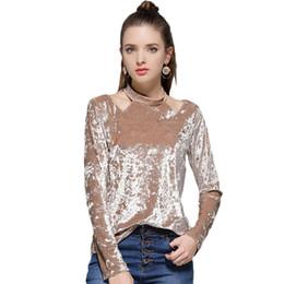Wholesale Turtleneck Tee Shirts - 2017 New Winter Autumn Fashion Turtleneck Velour T Shirt Women Long Sleeve Sexy Hollow Out Casual Elegant T-shirt Basic Tee Tops