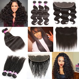 Wholesale Kinky Curly Weave Bundles - Brazilian Virgin Hair Bundles with Frontal Body Wave Human Hair Weave Kinky Curly Deep Wave with Closure Straight Virgin Hair with frontal
