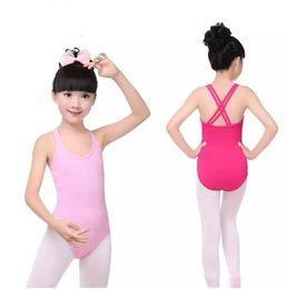 Wholesale wholesale girls dancewear - Leotard for girls Ballet gymnastic Bodysuit Dance Suit Dancewear Double cross strap Kids Girls Sleeveless Cotton free fast shipping B11
