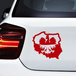car flags stickers Promo Codes - Fashion Creative Polish Eagle Map Flag Poland Polska Car Body Window Bumper Vinyl Decal Sticker