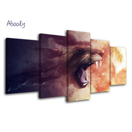 lion canvas print Promo Codes - 5 Piece Art Picture Lions Posters Painting Prints Quadros Decorative Tableau Wall Poster Canvas Wall Art For Living Room