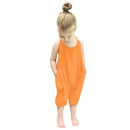 Wholesale Fashion Jumpsuit Harem - 2017 Fashion Kids Baby Girls Strap Cotton Romper Jumpsuit Harem Trousers Summer Clothes Dropship#30