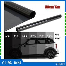Fenêtre teinte en Ligne-Livraison gratuite yentl en gros 50 cm x 6 M Noir Verre Fenêtre Teinte Ombre Film VLT 5% Auto Voiture Maison Rouleau PLY Auto Verre Protection Solaire