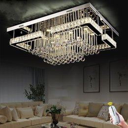 Wholesale Wood Ceiling Lighting Fixtures - Modern Contemporary Crystal Rectangular Chandelier Lighting LED Crystal Pandant Lamp for Living Room Flush Mount Ceiling Lighting Fixture