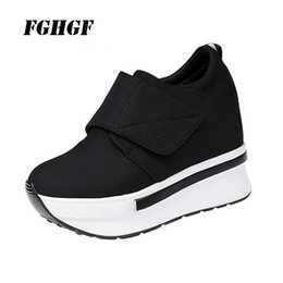 magic shoes high Promo Codes - Spring and autumn high help inner raised canvas breathable leisure thick bottom magic paste joker cloth shoes tourism shoes