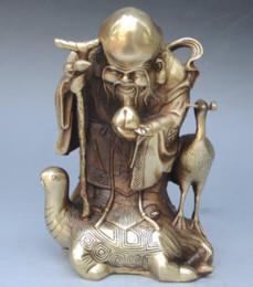 Статуи латунного бога онлайн-КИТАЙСКАЯ НАРОДНАЯ ЛАТУННАЯ ЧЕРЕПАХА КРАСНЫЙ КОРОНОВАННЫЙ КРАН ПЕРСИК СТАРИК БОГ БЕССМЕРТНЫХ СТАТУЯ