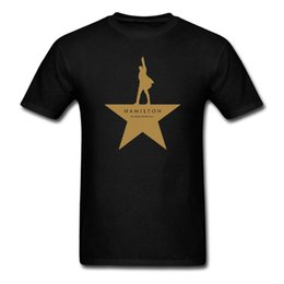 Wholesale Silver Star Tees - Wholesale- Hamilton the Broadway An American Musical GOLD STAR T-Shirt Men and Women tee euro size S~XXXL
