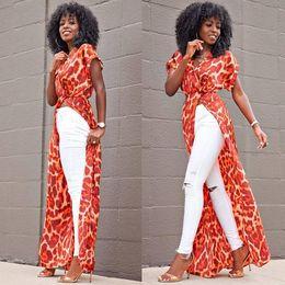 Túnica floral sexy online-Bohemia maxi dress 2018 primavera verano floral impreso playa vestido de las mujeres africanas boho robe ropa sexy de alta raja vestidos de fiesta