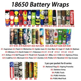 Wholesale Pvc Coverings - 36 styles 2018 Newest 18650 battery Wraps PVC Skin Sticker Shrinkable Wrap Cover Sleeve Heat Shrink Re-wrapping for Batteries Wrapper