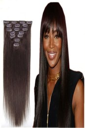 """Wholesale hair extension clip 12 inch - 70g 100g 120g 160g Full Head Silky Straight Remy Clip in Human hair extension Black Brown Blonde optional 16"""" - 26"""""""