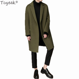 ea9153ab756c Tcyeek Men's Autumn Winter Coat Turn-down Collar Wool Cotton Liner Men Pea  Coat Male Winbreaker Plus Size 3XL Overcoat LX1290 discount men s black  overcoat