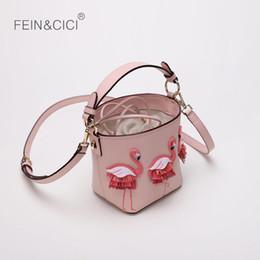 sacs de plage de plage Promotion sac seau Flamingo sac de plage femmes été totes sac à main 2018 automne mode haute qualité croix de couleur rose en gros