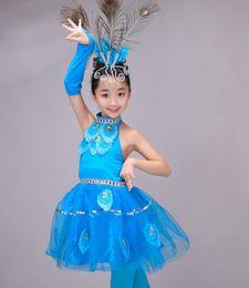 Trajes de dança pavão on-line-Mais novo Crianças Meninas Trajes Chineses Crianças Halter Peacock Dance Trajes Étnicos Stage Dancewear