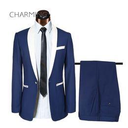 Wholesale Mens Tuxedo 54 Costume - Mens wedding suits Navy blue suit for wedding actor singer costume mens suit design Formal mens suits 2 piece suit (jacket + pants)