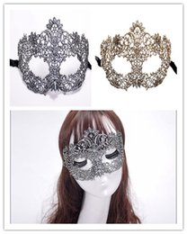 Wholesale sexy masquerade ball costumes - 2018 new Sexy lace half face bar masks for women lady girl Masquerade Christmas ball Halloween Costume Party cover