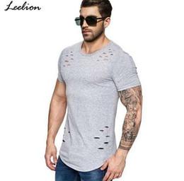 Novos manga longa camiseta on-line-LeeLion 2018 Nova Primavera Longa Camiseta Homens Moda Buraco Design de Fitness T-shirt de Verão de Manga Curta Sólida Slim Fit Hip Hop Tshirt