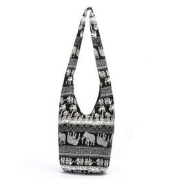 Wholesale Cotton Printed Sling Bag - Fashion Bags Cross Body Elephant Sling Crossbody Shoulder Bag Purse Thai Top Zip Handmade New Color Black Lady Shopping Creative Bags