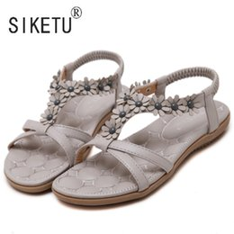 Wholesale Flower Puppies - 2016 Newest Sweet Beading Elastic Band Flowers Women Sandals