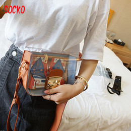 Wholesale Transparent Jelly Purses - High Quality Clear Messenger Bags Women Transparent Purses Totes Candy Color PU Leather Bag jelly small square package h40