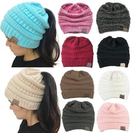 Wholesale beanie red - CC Ponytail Beanie Hats For Women Winter Cap Knitted Skullies Beanies Warm Caps cc PonytailHat 10 color KKA5594