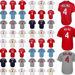 Wholesale Men Dexter - Men's St. Louis jersey 4 Yadier Molina 1 Ozzie Smith 25 Dexter Fowler Embroidery Logos Cardinal jerseys