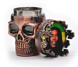 Wholesale Breaking Head - Plastic head TOBACCO GRINDER 3 layer metal gear grinder broken skull smoke detector