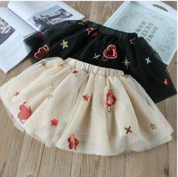 Wholesale Girls Heart Skirt - Kids TUTU skirts Girls Stars love hearts sequins pleated tulle skirts 2018 new Spring Summer Kids embroideried princess gauze skirts C2658