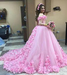 f7b3126da2bc1 2018 Pink Quinceanera Dresses Princess Cinderella Formal Long Ball Gown  Prom Dresses Off Shoulder 3D Floral Applique EN11011