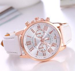 Wholesale Geneva Chronograph Watches - New Geneva Watch Women Watches Reloj Mujer Dropship 2017 Casual Roman Numerals PU Leather Mechanical Clock