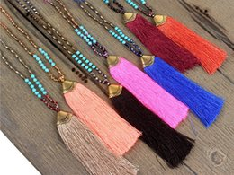 Wholesale Copper Turquoise Pendants - Hot Sale Natural Beaded Long Beaded Necklaces Semi Precious Beads Necklaces Lava-rock Turquoise Bead Agate Amazonite Tassel Necklaces